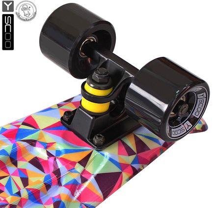 "401G-R Скейтборд Y-SCOO Fishskateboard Print 22"" винил 56,6х15 с сумкой Rhombus"